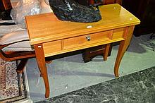 Modern light oak console table, single drawer by