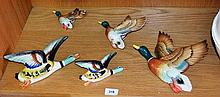 5 various vintage flying wall ducks