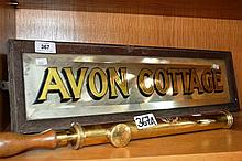 Antique mirrored house name board 'Avon Cottage'
