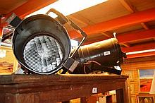 Pair of theatrical stage lights with hanging