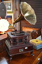 HMV wind up gramophone, Indian model, large brass