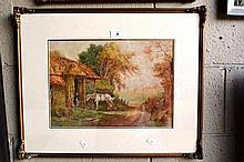 H Murray, English school watercolour, 'Blacksmith