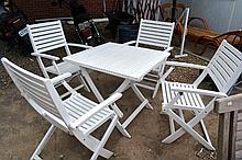 5 piece white painted garden furniture set