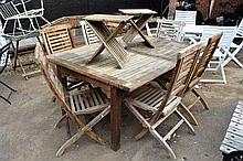 Teak garden furniture set, comprising extension