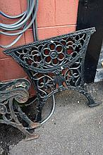 Pair of early cast iron garden table ends