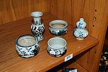 Collection of 5 various Chinese glazed pottery