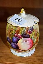 Aynsley jam pot with fruit decoration, signed D.