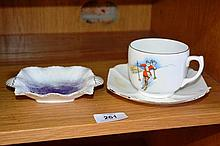 Shelley teacup & saucer with female skier,