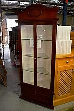 Red cedar corner display cabinet, 2 glazed doors,