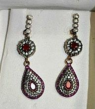 Pair of ruby & zircon drop earrings