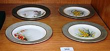 Set of 4 antique Royal Worcester side plates, each
