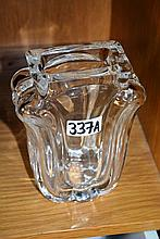 Heavy Orrefors clear crystal vase, scroll design,