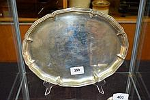 European silver oval form serving tray with