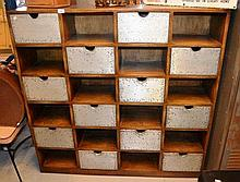 Teak 12 drawer and 12 open compartment tailor's