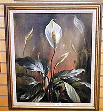 Edward Hurst, oil on canvas, of a lily, signed,