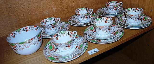 An antique set of 6 English china porcelain trios