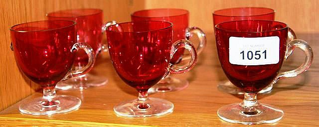 Set of 6 antique ruby glass custard cups wth clear