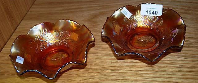 2 small marigold carnival glass dishes, each with