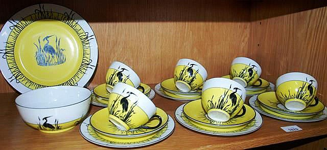 A Czechoslovakian art deco tea set with 6 trios,