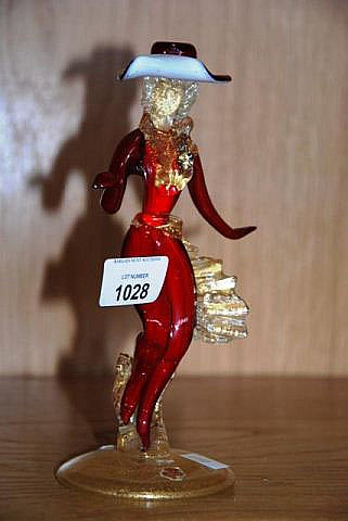 Vintage Murano art glass figure of a woman in red