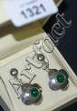 Pair of ornate silver & jade drop earrings