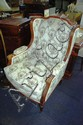 Walnut framed arm chair, carved showwood, tapestry