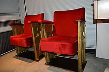 Pair of original Art Deco folding theatre chairs,