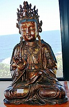 Large bronze Buddha, seated pose with gilded