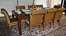 Set of 8 dining chairs, gold diamond upholstery,