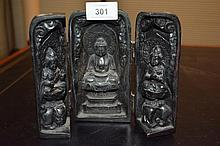 Carved resin traveling Buddhist shrine, with 2