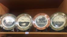 4 x Adams display plates, each showing various Australian scenes incl. 3 x 'Peeps at the Past' Sydney scenes, and a Captain Cook proclamation plate, each plate is 25.5cm D. Note: 1 plate has a hole drill to centre, originally used as a cake plate