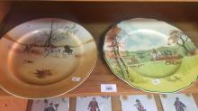 2 Royal Doulton display plates 'Fox Hunting' D5104 and 'Hunting Plate' (John Peel), each 26.5cm D