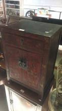 Oriental lacquerware style bedside cabinet