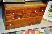 4 x oak ex-library index card file drawers, comprising of 20 x drawers in total, 54 x 86cm