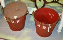 2 x rare original WWII ARP fire buckets, 1 x with lid