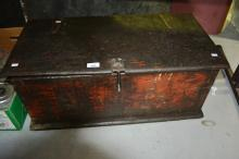 Vintage timber tool box, possibly ex-railway, good patina, 73cm L