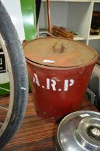 WWII ARP fire bucket with lid