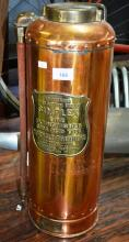 Simplex vintage polished copper fire extinguisher, complete with brass plate, etc.