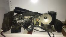 SLR camera equipment incl. Canon FT, Canon 81 + Brownie, with flash unit, lenses, filters etc