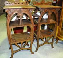 Pair of Arts & Crafts style timber side cabinets, open shelved with carved detail, each 95cm T