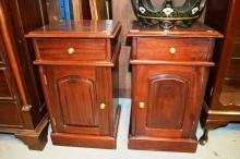 Pair of Victorian style mahogany bedside cabinets, each fitted with 1 x drawer over 1 x door with opposing hinges, 70cm T x 42cm W