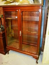 Western red cedar display cabinet, 2 x glazed doors with glass shelves on cabriole feet, comes with key, 94cm W x 140cm T