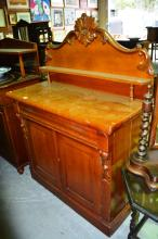 Antique cedar chiffonier with carved backboard and trinket shelf, 106.5cm W x 146cm T