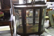 Art Deco walnut display cabinet, single glazed door, mirror back with 2 x glass shelves, comes with key. 107cm W x 112cm T