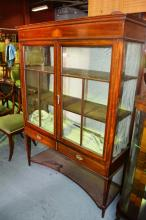 Edwardian inlaid mahogany display cabinet, pair of astragal glazed doors over 2 x drawers, with undershelf. Note: interior lining has been removed, comes with replacement green silk, ready to reline back and shelves, also comes with key. Circa 1900, 111c