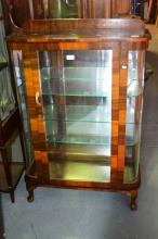 Art Deco walnut display cabinet, single door, mirror back and glass shelves, comes with key, 77 cm W x 113cm T