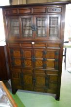 Korean elm stacking cabinet, 3-section with an arrangement of latticework sliding doors, panelled hinged doors, drawers etc, 164cm T x 103cm W