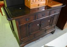 Vintage Korean dark stained elm side cabinet with alter shaped top, with an arrangement of various drawers and doors, 108cm W x 78cm T