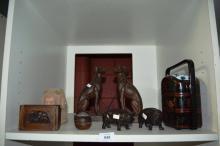 Oriental items incl. lacquerware, cast resin dogs etc