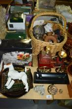 Steam carriage form decanter, Mikasa boxed glass items, Royal Doulton terrier dog figurine (AF), EPNS etc